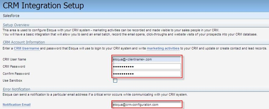 SFDC integration setup