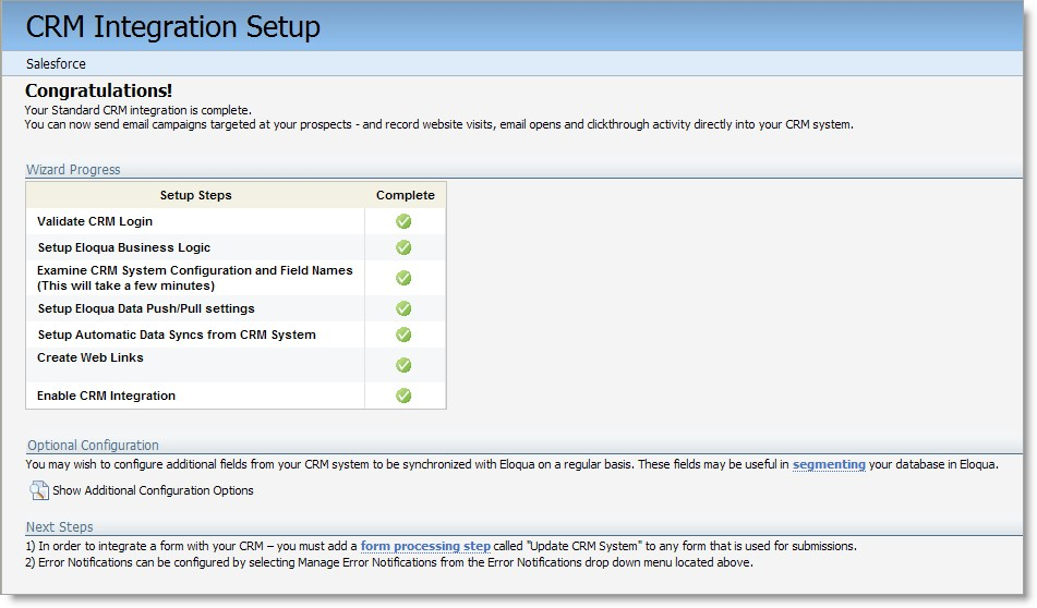 SFDC integration set