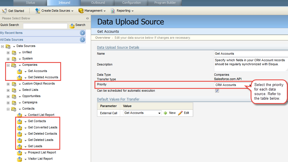 Eloqua Salesforce Data Upload Source