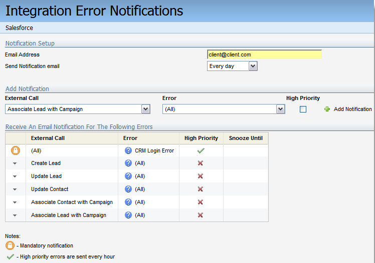 Eloqua Salesforce Integration Error Notifications